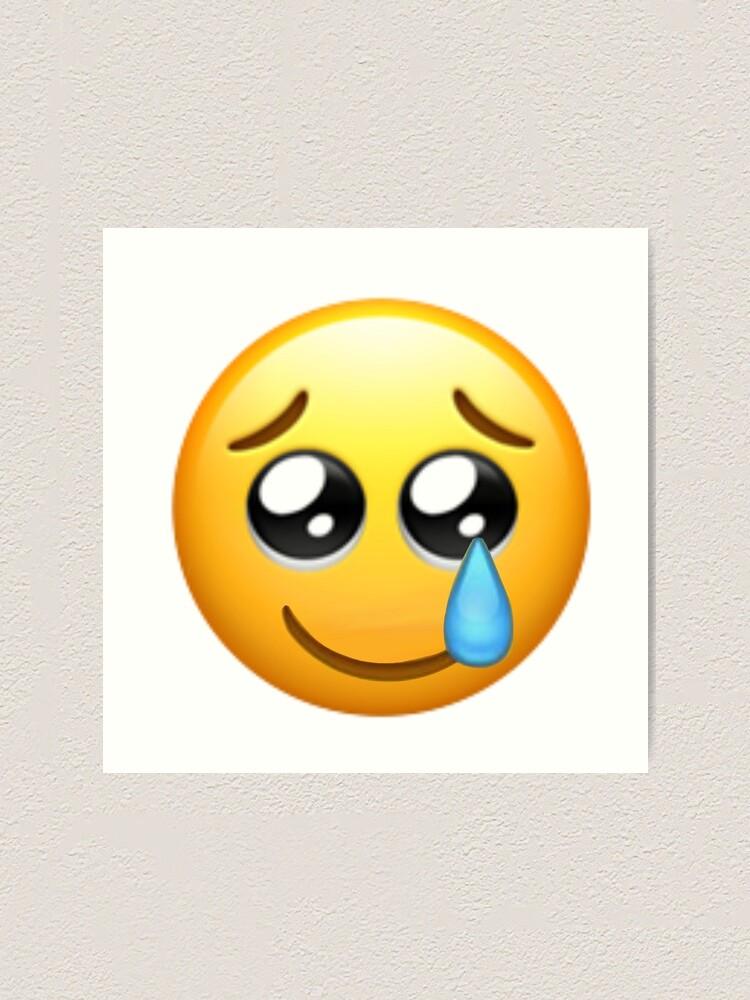 Impression Artistique Emoji Larme Heureuse Par Artwithally Redbubble