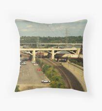 Road and Rail from Wabasha St bridge. Throw Pillow