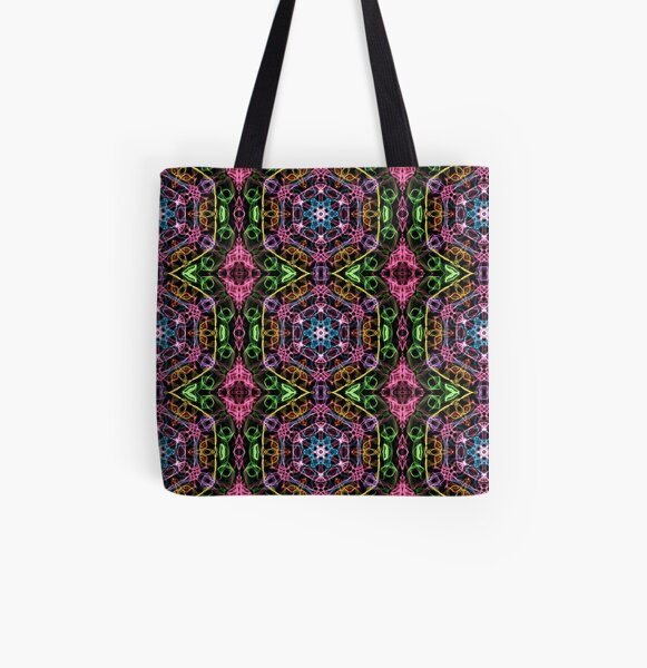 Hexagons Of Colour - Multicoloured Retro Pattern All Over Print Tote Bag
