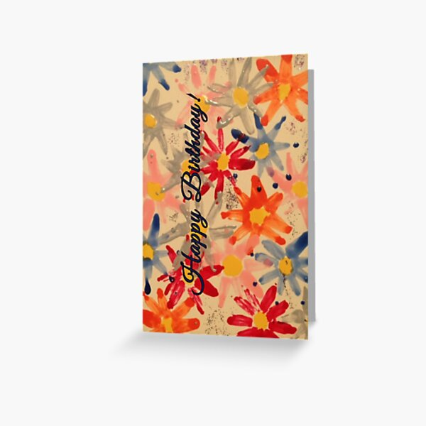 Happy Birthday Floral Print Greeting Card
