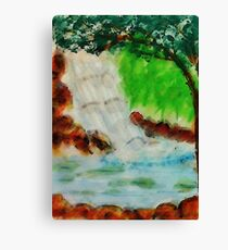 Cooling waterfall, watercolor Canvas Print