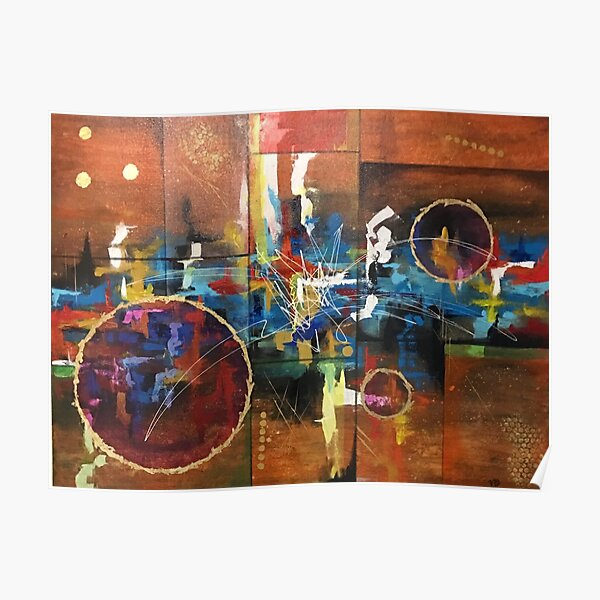 Abstract color gold lady landscape inspirational Poster
