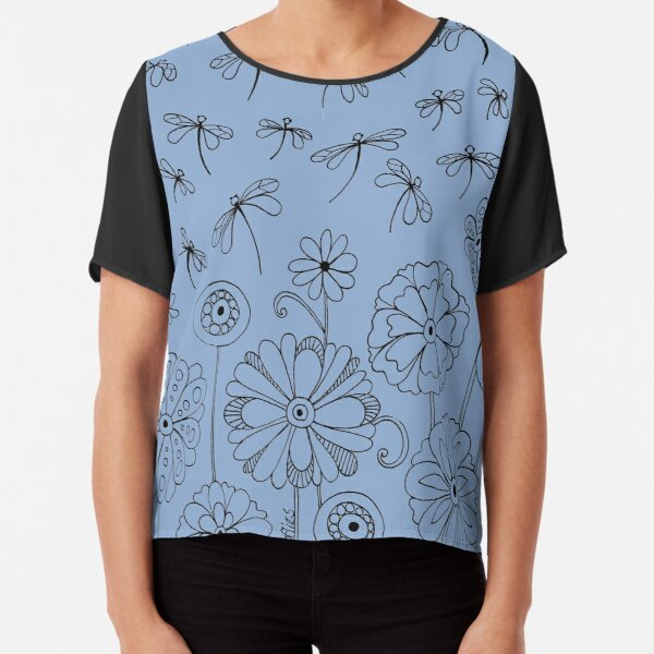 Flowers and Dragonflies #1 Chiffon Top