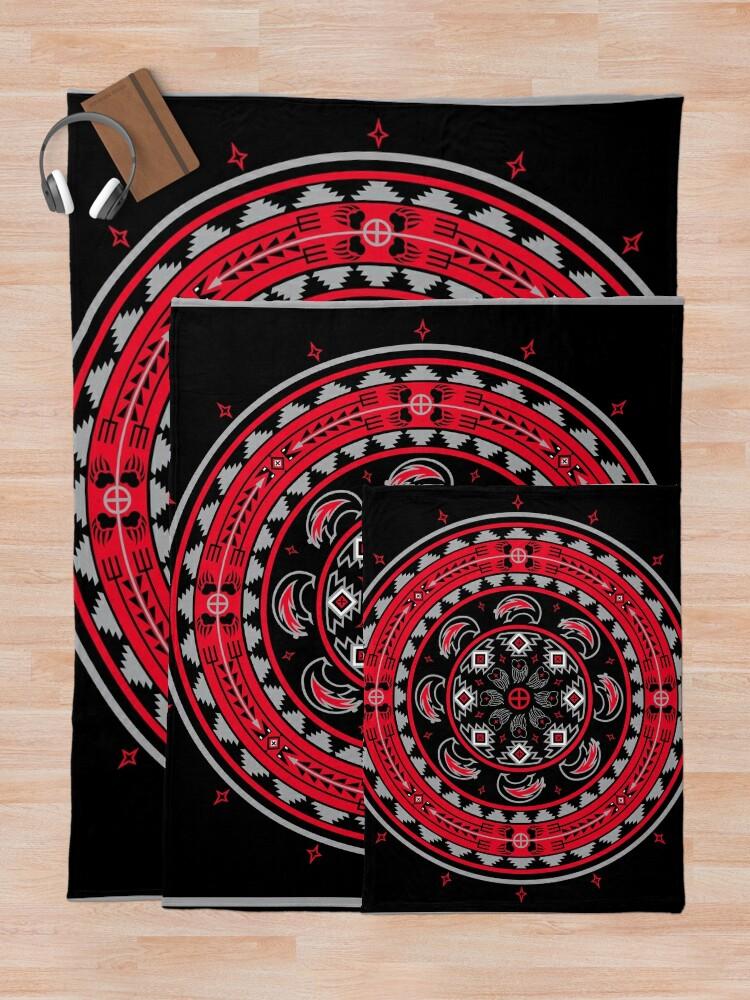 Alternate view of Bear Spirit Red  Throw Blanket