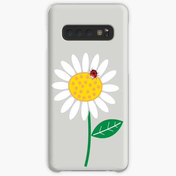 Whimsical Summer White Daisy and Red Ladybug Samsung Galaxy Snap Case