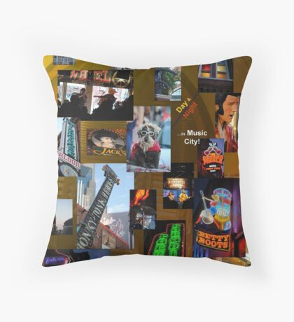 day & night in music city! Throw Pillow