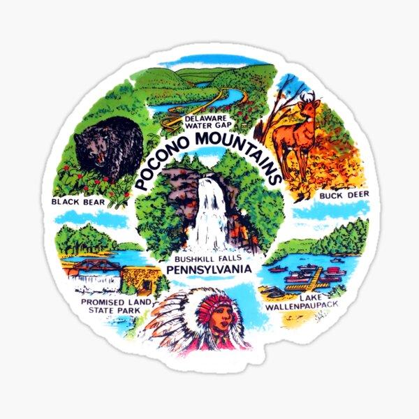 Pocono Mountains, Bushkill Falls, Pennsylvania, Delaware Water Gap, Lake Wallenpaupack, Promised Land State Park Sticker