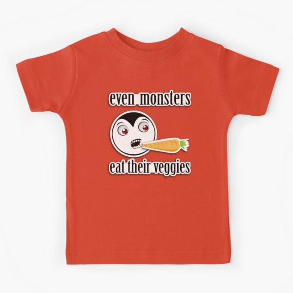 Monsters Eat Their Veggies (Little Drack) Kids T-Shirt