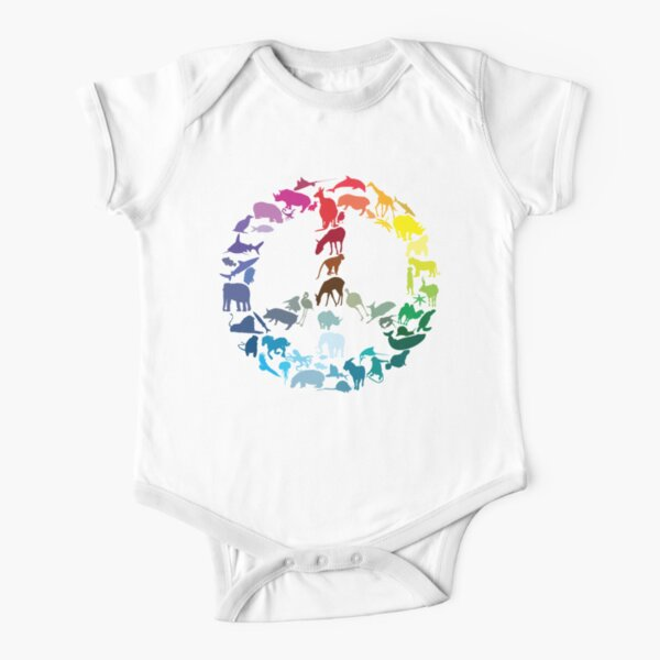 Animals of Peace Short Sleeve Baby One-Piece