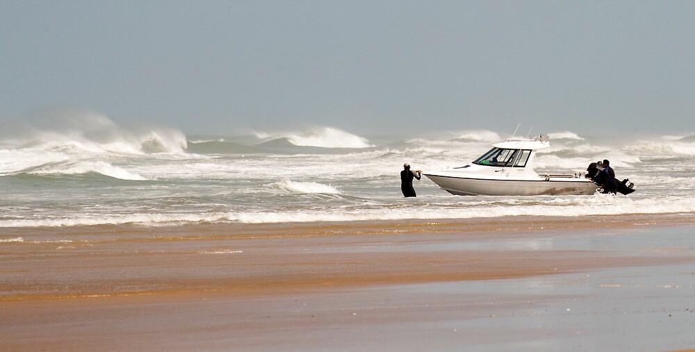 Gone Fishing - Baylys Beach boaties by Jenny Dean