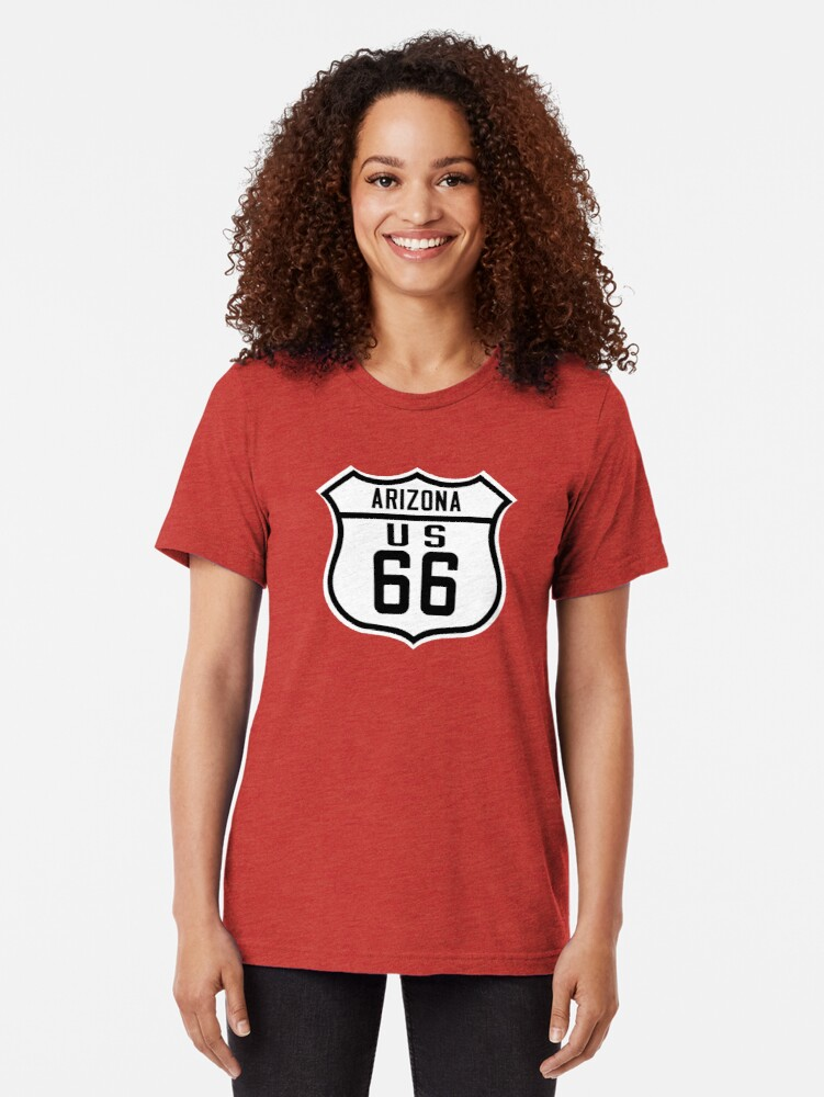 Alternate view of Route 66 Arizona Road Sign Tri-blend T-Shirt