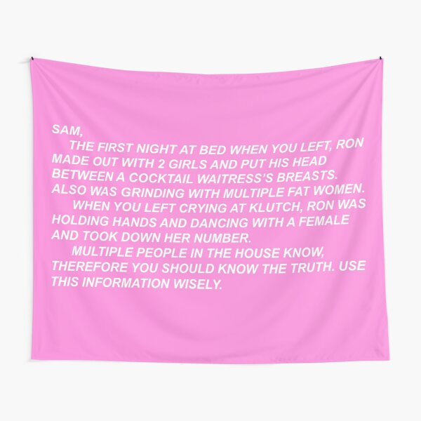 the note (in pink) Tapestry