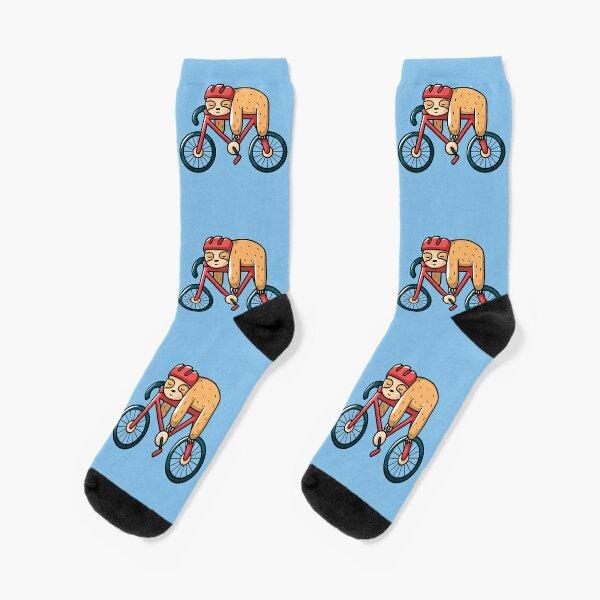 sleeping sloth with bicycle Socks