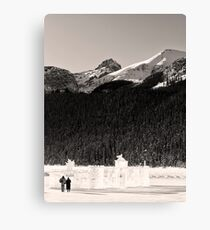 Lovers Stroll from an Ice Castle Canvas Print
