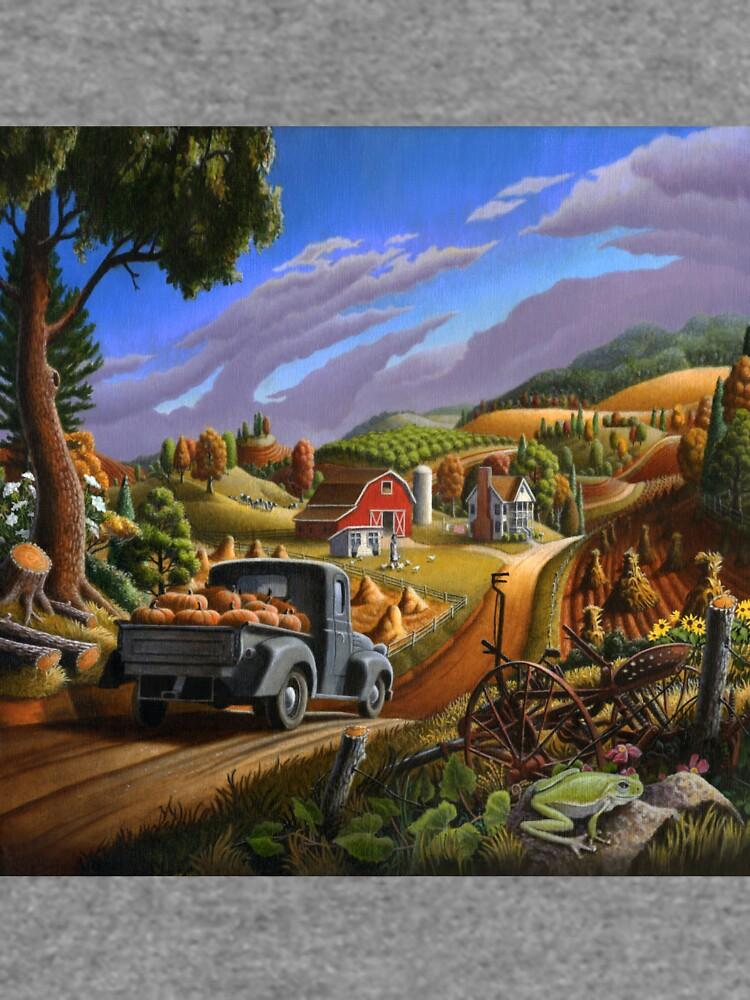 Taking Pumpkins To Market Fall Farm Landscape - Thanksgiving Folk Art by waltcurlee