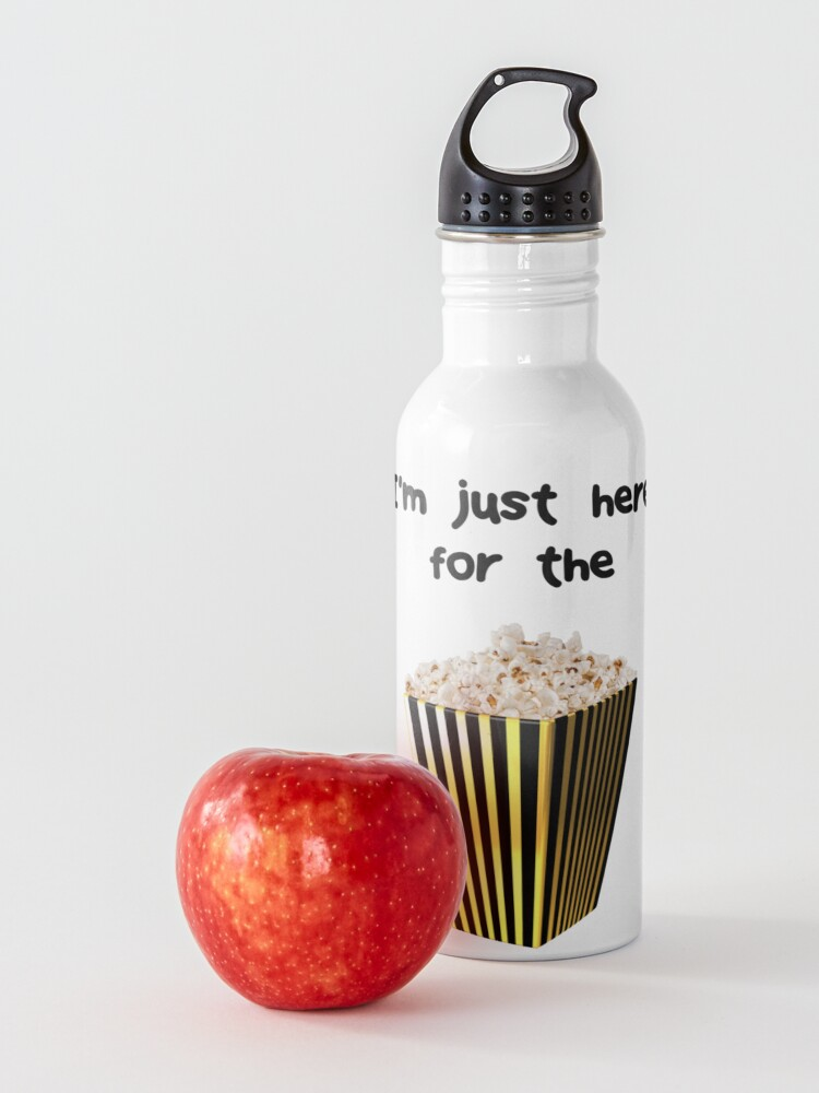 Alternate view of Funny Statement  - I'm just here for the popcorn Water Bottle