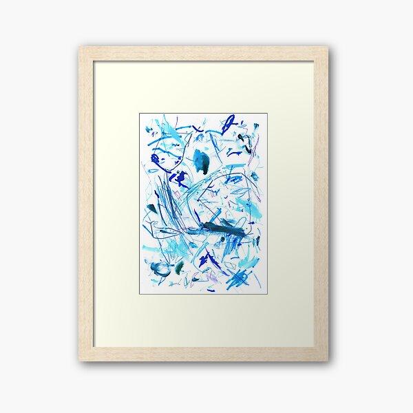Blue Mark Making Abstract Art Framed Art Print