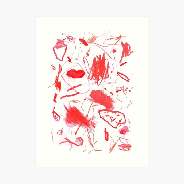Red Mark Making Abstract Art Art Print