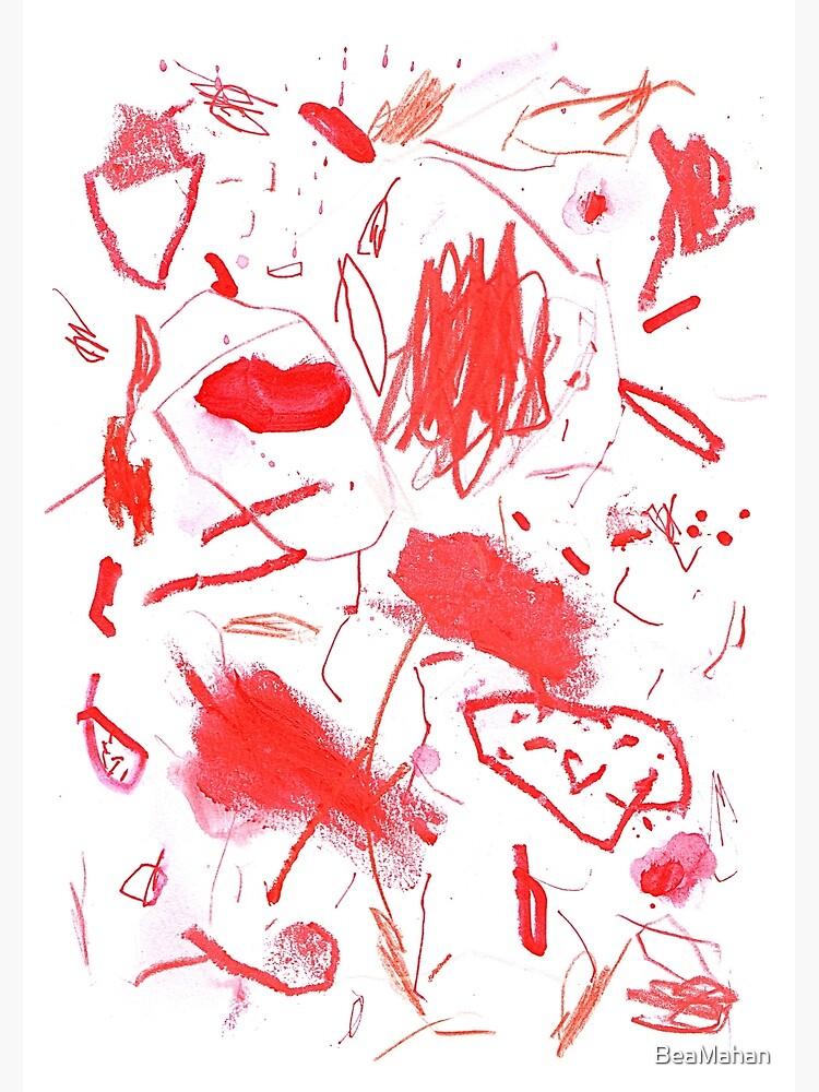 Red Mark Making Abstract Art by BeaMahan