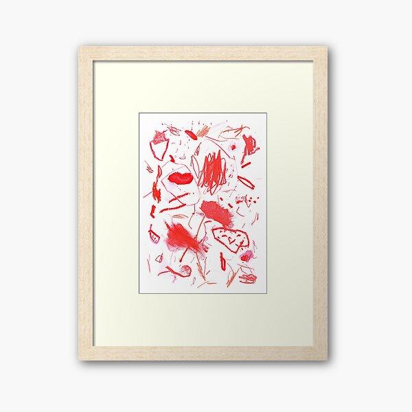 Red Mark Making Abstract Art Framed Art Print