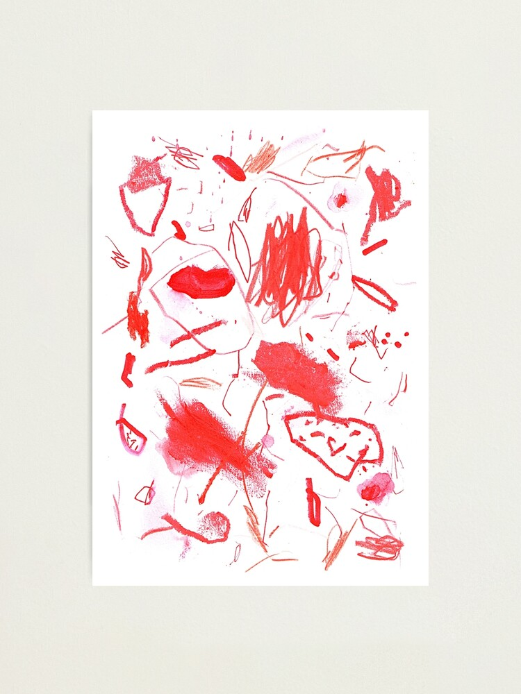 Alternate view of Red Mark Making Abstract Art Photographic Print