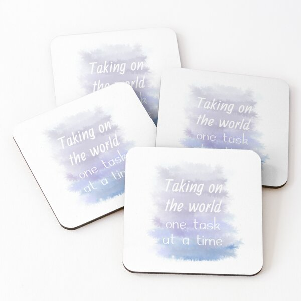 Taking On The World One Task At A Time (white) Motivational Coasters (Set of 4)