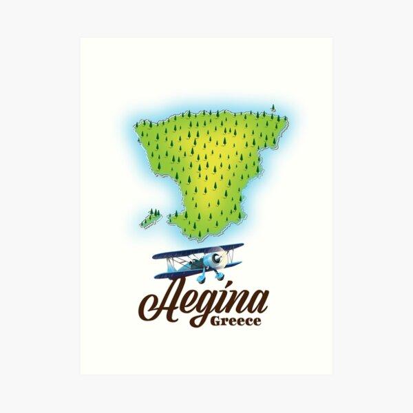 Aegina Greece island map Art Print