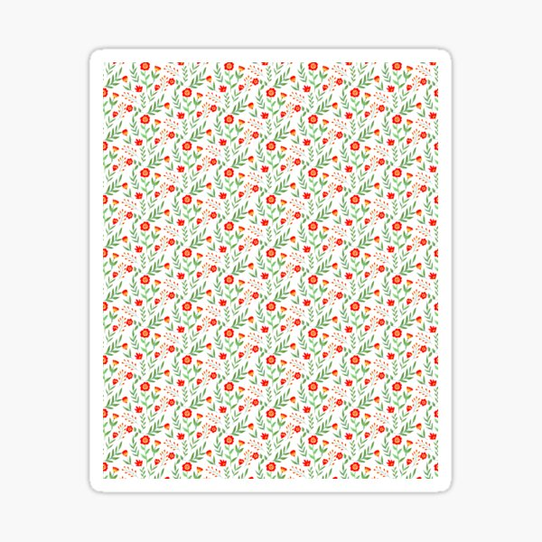 red, yellow and green graphic floral pattern Sticker
