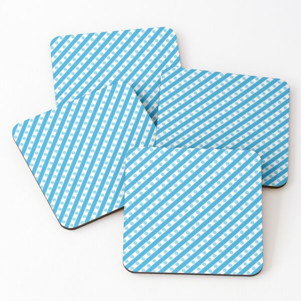 Blue Stripes and Dots Coasters (Set of 4)