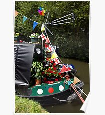 A colourfully decorated narrowboat Poster