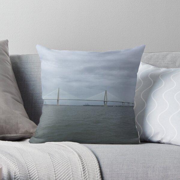 bridge over sea Throw Pillow
