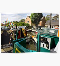 Colourfully decorated narrowboats Poster