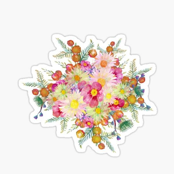 Watercolour Bush Wildflower Garden Sticker