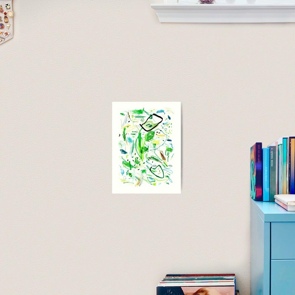 Green Mark Making Abstract Art Art Print