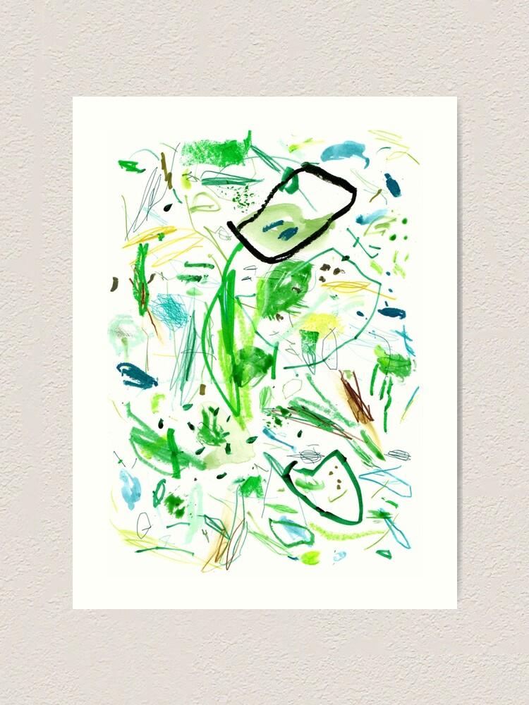 Alternate view of Green Mark Making Abstract Art Art Print