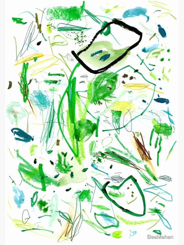 Green Mark Making Abstract Art by BeaMahan