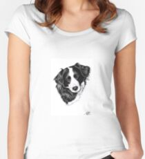 Border Collie Portrait Women's Fitted Scoop T-Shirt