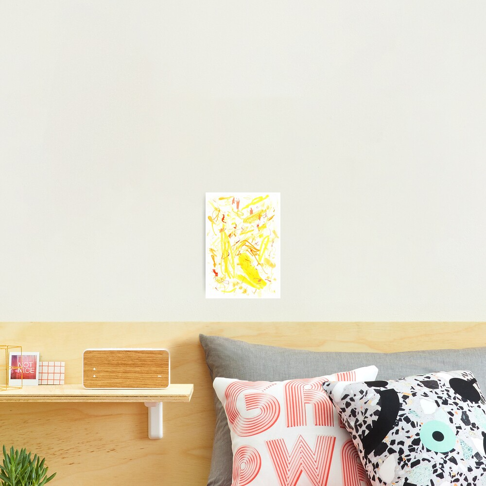 Yellow Mark Making Abstract Art Photographic Print