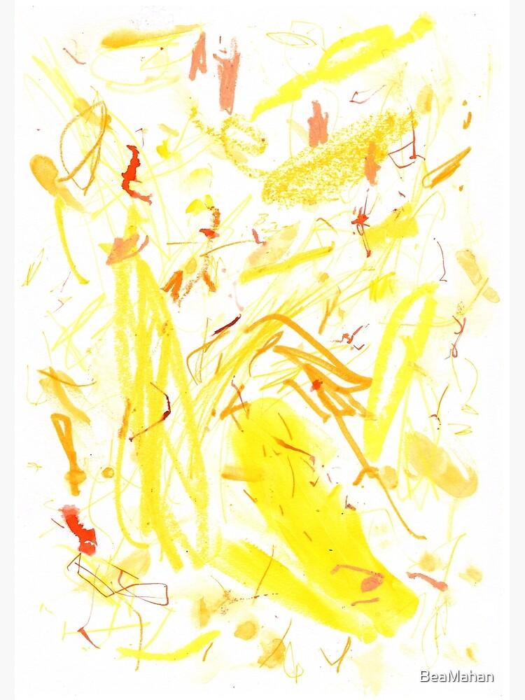 Yellow Mark Making Abstract Art by BeaMahan
