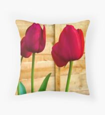 Red Tulips ..  Throw Pillow