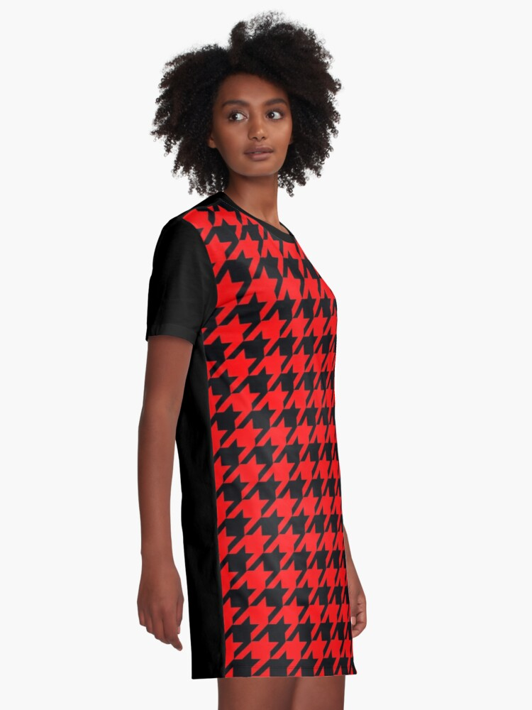 Alternate view of Red black houndstooth pattern Graphic T-Shirt Dress