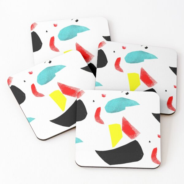 Basic Colors Abstract Illustration Coasters (Set of 4)