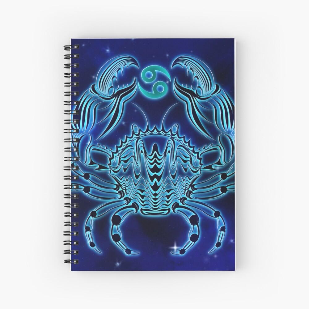 Dark Blue Cancer Zodiac Spiral Notebook