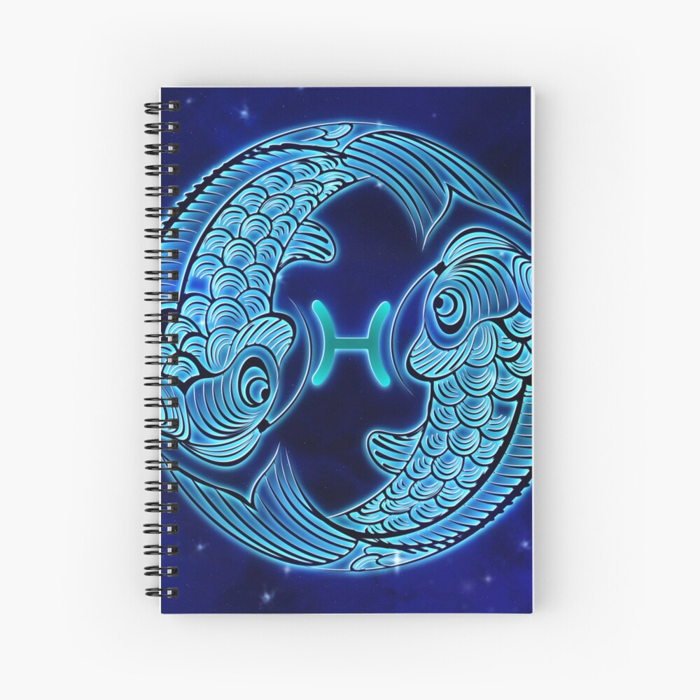 Blue Pisces Zodiac Sign Spiral Notebook