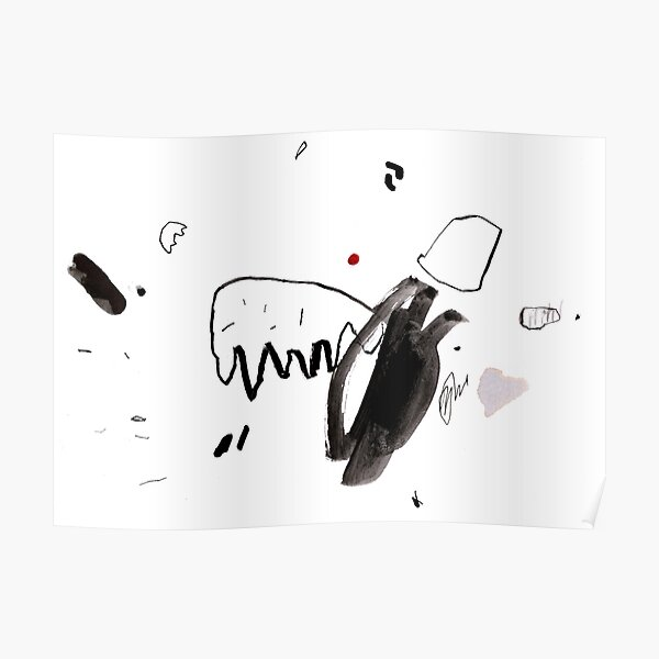 Black and White Abstract Ink Painting Poster