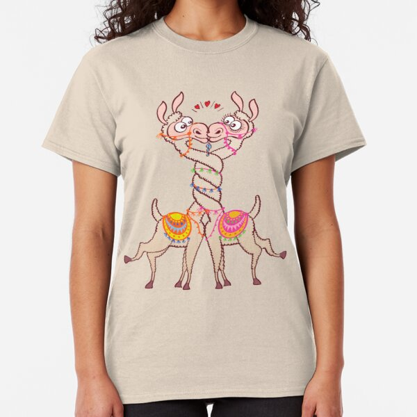 Llamas intertwining necks, falling in love and kissing passionately Classic T-Shirt