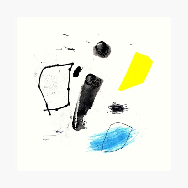 Black and Yellow Abstract Ink Painting Art Print