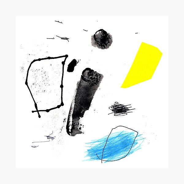Black and Yellow Abstract Ink Painting Photographic Print