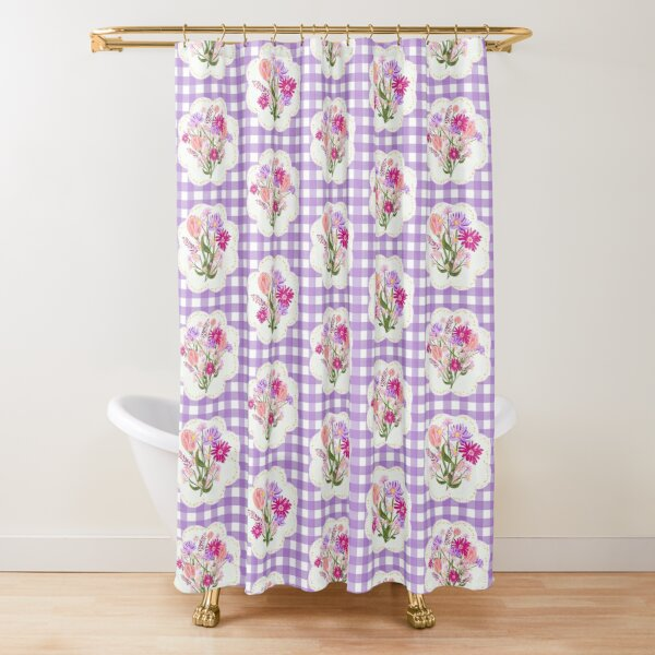 Wildflowers Bouquets on Purple Gingham by Tea with Xanthe Shower Curtain