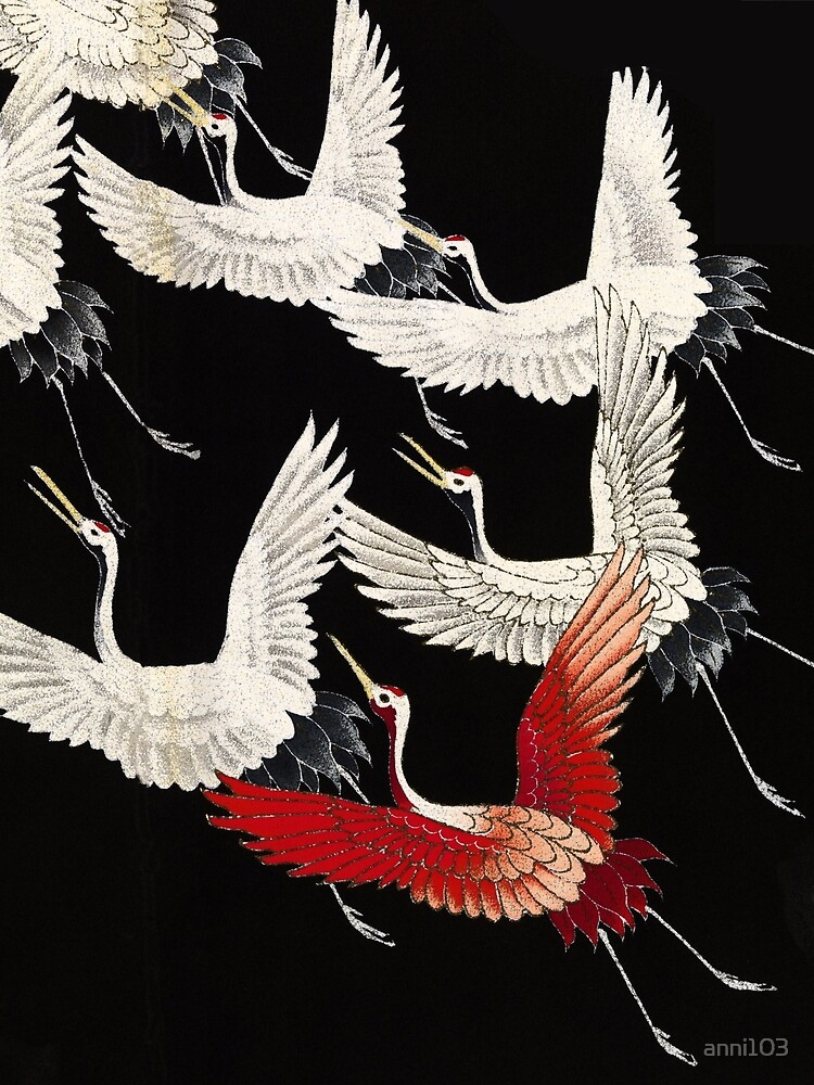 Scarf version of Wild cranes in Black by anni103